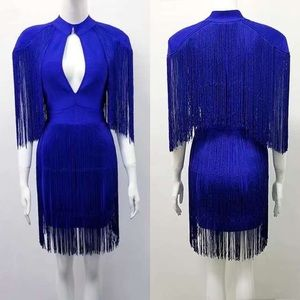 Royal Blue Tassel Fringe Bandage Short Party Dress